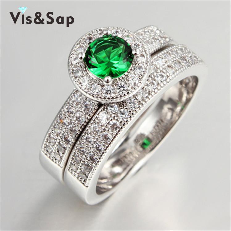 White gold plated Couple rings emerald Stone wedding engagement Rings For Women fashion jewelry elegant bijoux Wholesale VSR090(China (Mainland))
