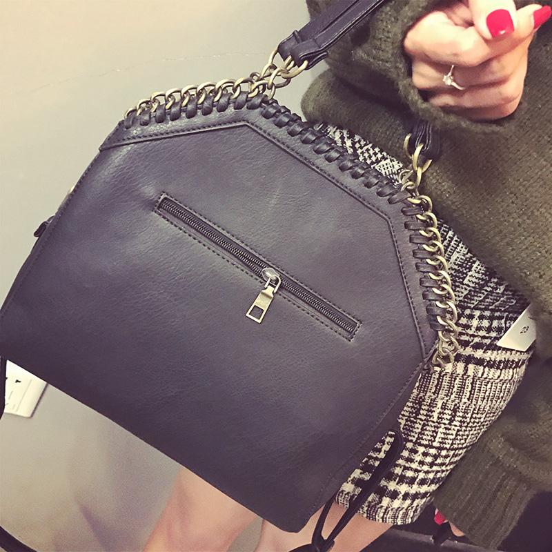 Black Crossbody Bag for Woman Fashion Female Women's Leather Handbags Tote Chains Shoulder