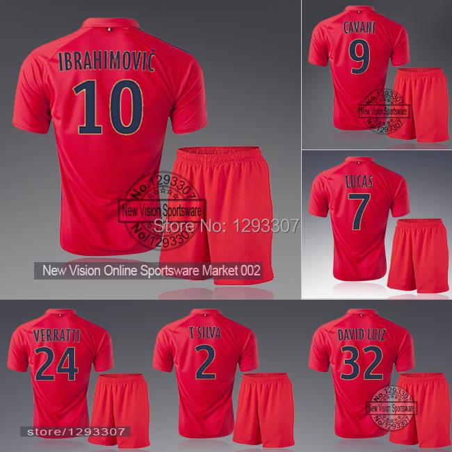 2014 15 Paris Third Red Ibrahimovic Cavani Lucas David Luiz Verratti Football Kit Uniform Men Sports Outfit Soccer Jersey Set(China (Mainland))