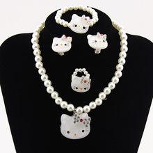 1 ชุดเด็กทารกน่ารักไข่มุกเทียม Kitty cat จี้สร้อยคอสร้อยข้อมือแหวนชุด(China)