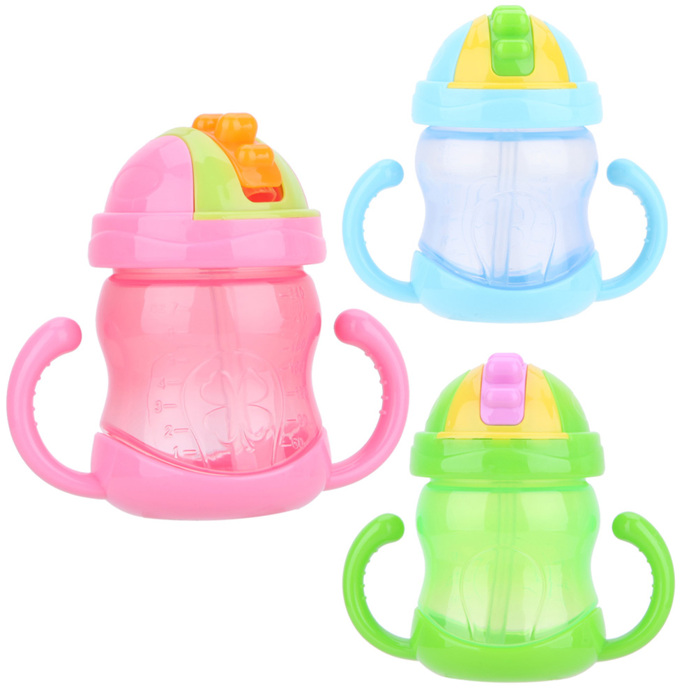 240ml Cute Baby Cups Kid Water Bottle Handle Cup Children Learn Drinking Feeding Straw Bottle Training Water Cup #LD789