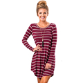 new arrival casual long sleeve striped red white contract colors pocket mini dress loose irregular outwear