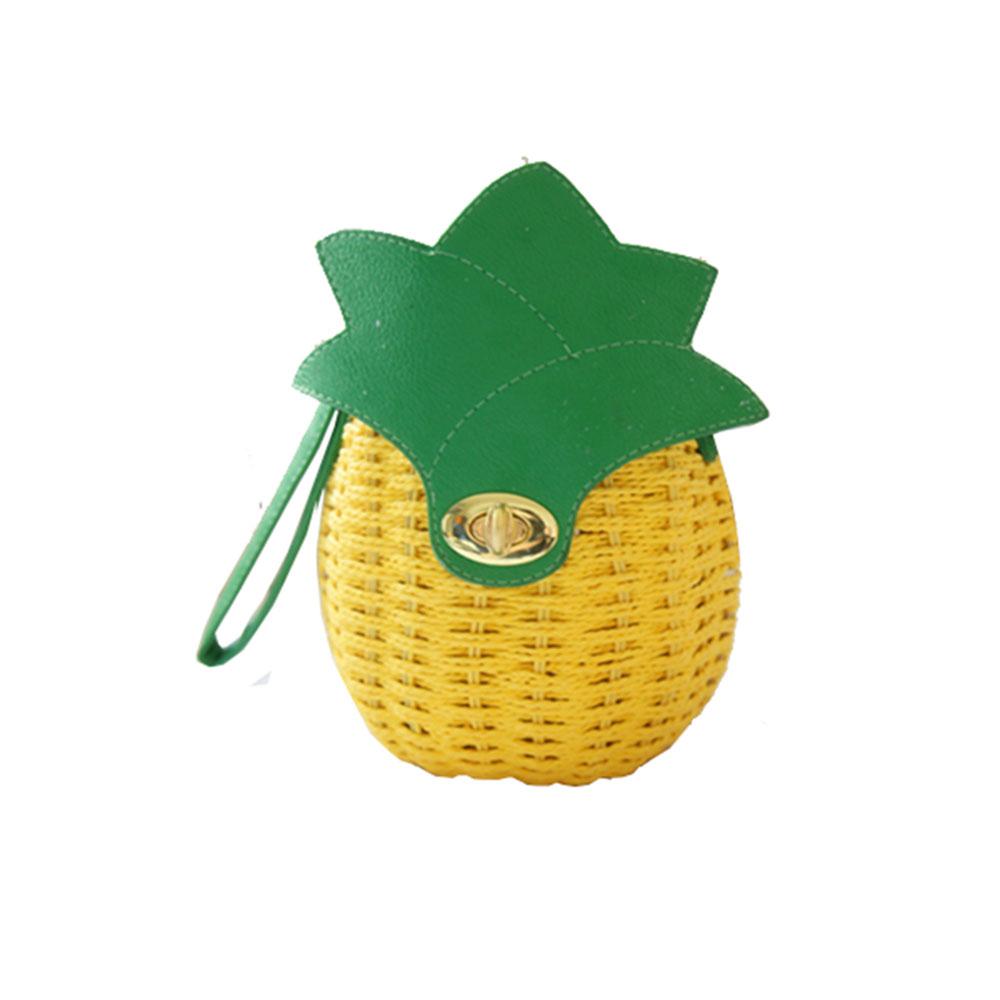 Summer Mini Women Cross-body Bag Pineapple Lemon Shape Rattan Weaved Pattern Shoulder Bag Idyllic Eco-friendly Travel Party Bag(China (Mainland))