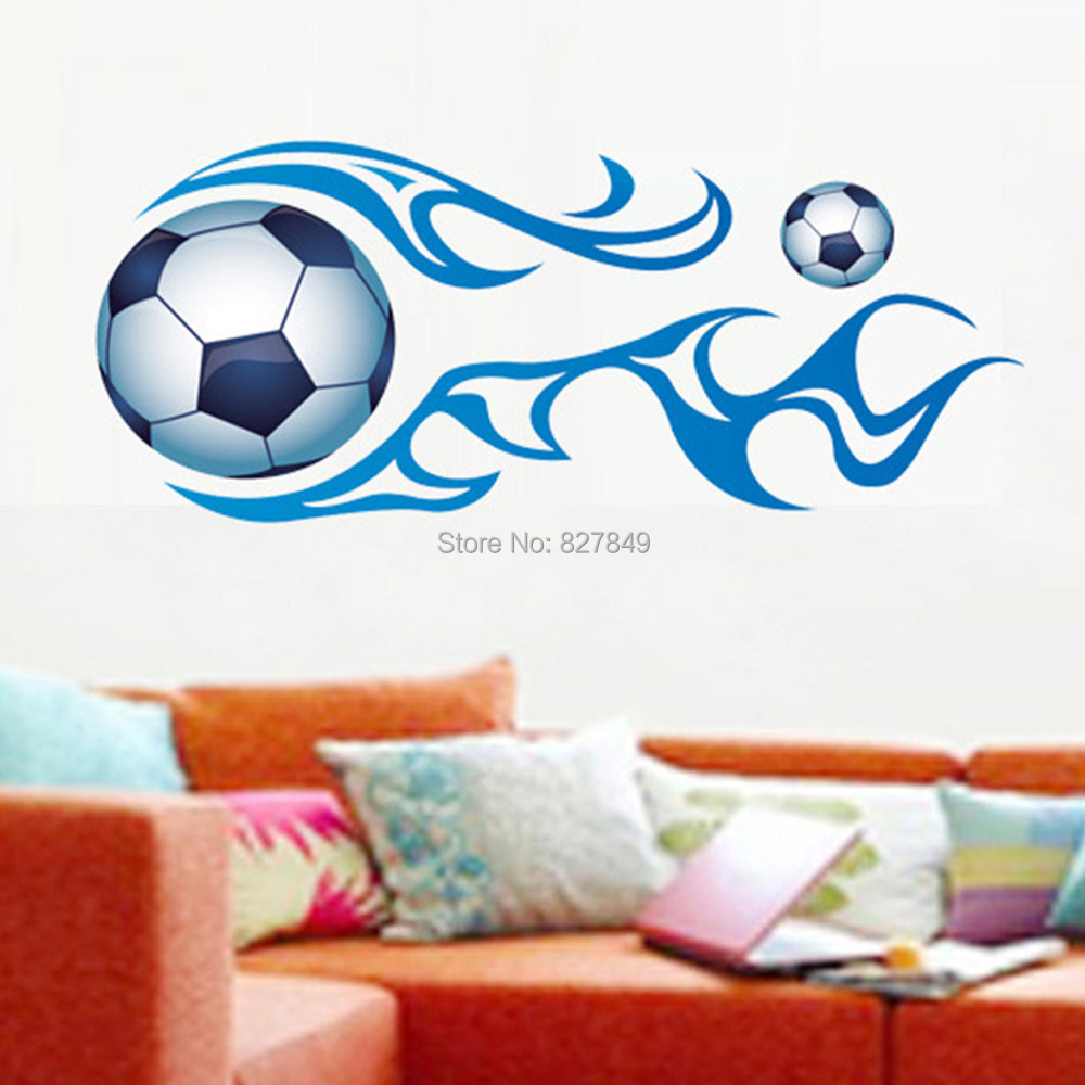 New football 50x70cm footballers sport wall art vinyl boys for Sports decals for kids rooms
