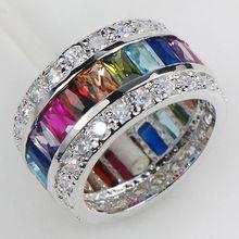 Morganite topázio azul Garnet ametista rubi rosa Kunzite Aquamarine 925 anel de prata tamanho 6 7 8 9 10 11 KR07