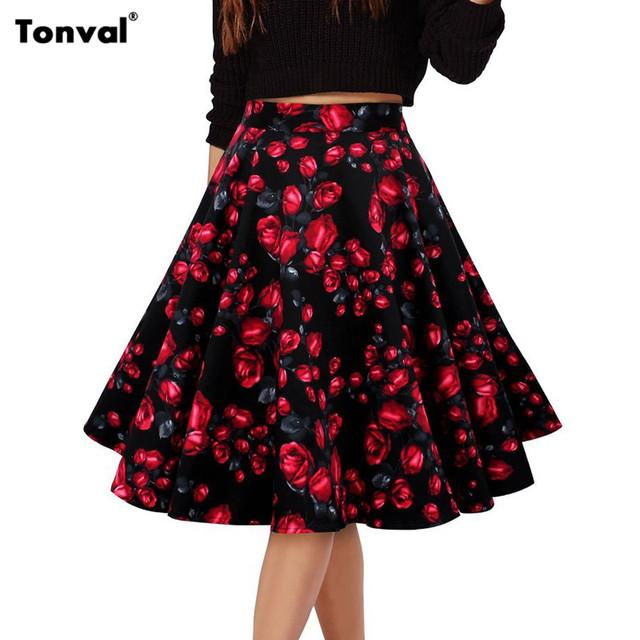 Tonval Midi Юбка Женщин 2016 Старинные Цветочные Печати и Горошек Юбки Милые Цветы Элегантный Формальное Качели Юбки Femme