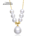Natural Freshwater Pearl Love Pure Real Solid 18k Yellow Gold Waterdrop Pearl Pendant Necklace Women Wedding