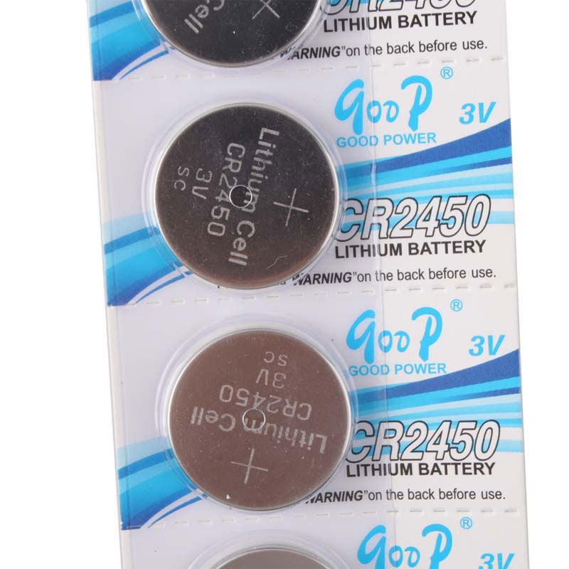 High Quality 5 PCS CR2450 CR 2450 3V Li ion Button Cell Battery ECOS 54879