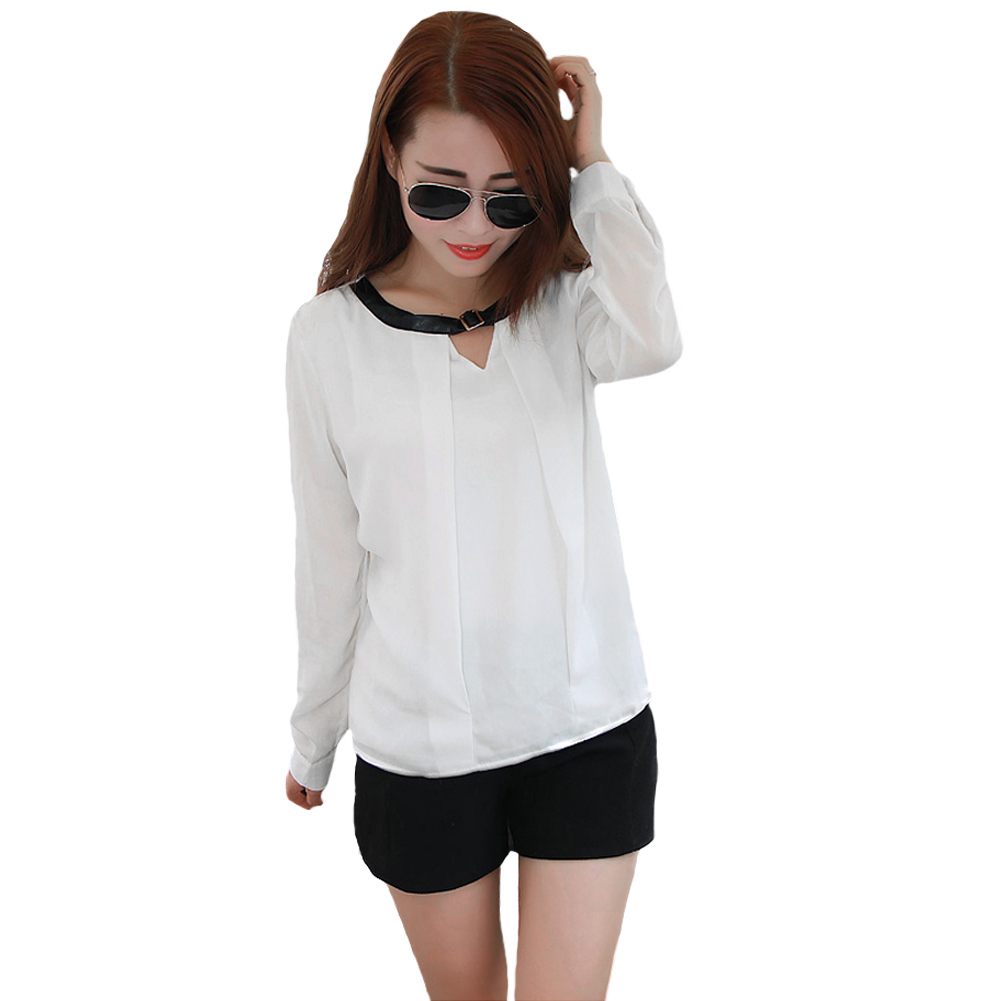 Ladies Office Shirts 2015 New Fashion Women Blouse European Style Chiffon Blouses Long Sleeve