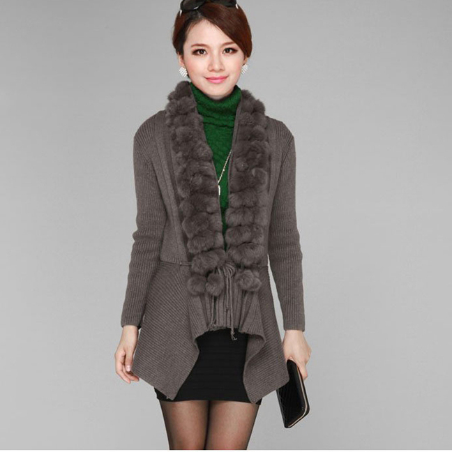2016 spring autumn long sleeve knitting women sweater real natural rabbit fur collar cashmere shawl outerwear cardigent - Small Word store