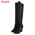 Woman Wedges Knee high Boots Winter Short Plush Nubuck Leather Pointed Toe Long Boots Sheepskin Fashion