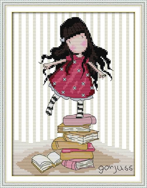 Маленькая Девочка Стоит Выше Счетный Крест Стежка DMC Cross Stitch DIY Cross Stitch Kit Вышивка для Домашнего Декора Рукоделие