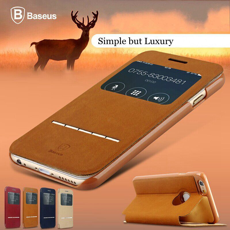 Premium Luxury Baseus Terse Series Ultra Thin Smart Sleep Leather Case for iphone 6 Plus 5.5 Dirt-resistant Protective Cover RCD(China (Mainland))
