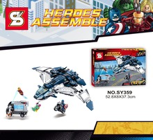 SY359 Iron man captain American ride Helicopter Warplane building block set minifigure with Weapons Compatible With Lego