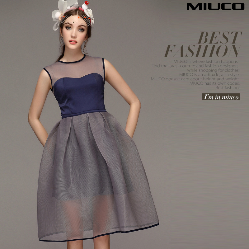 2015 spring summer women's patchwork perspective gauze slim puff dresses lining one-piece - Shao's Trading store