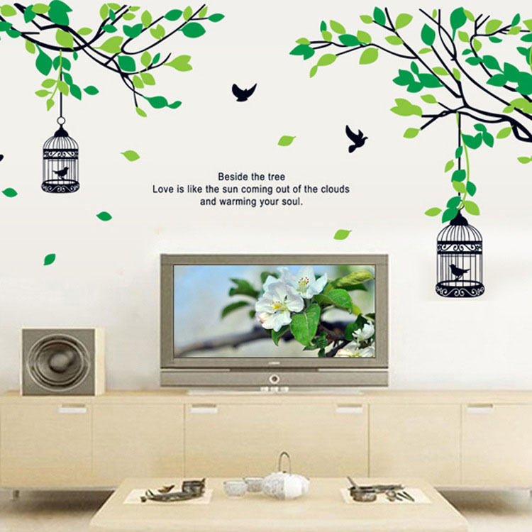 [Saturday Monopoly] a birdcage hanging from a tree Wall Stickers diy green plant decals bird cage murals wall home decoration(China (Mainland))