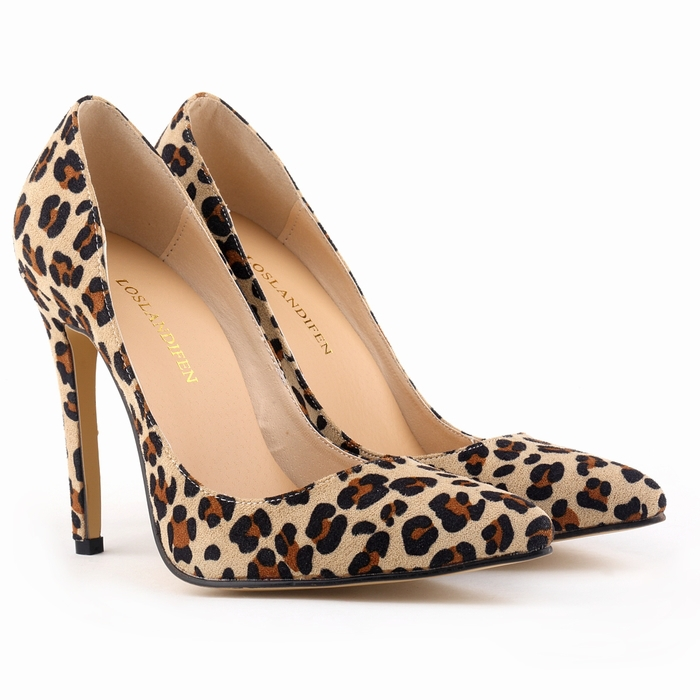 Classic Sexy Flock High Heels Women Lady Pumps Velvet Spring Brand Design Wedding Shoes Pumps Big Size 35-42 302-1Leopard(China (Mainland))