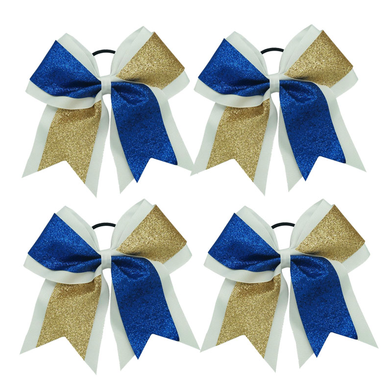 """1 Pc Fashion 7"""" Royal Gold Large Baby Girl Glitter Grosgrain Cheerleading Cheer Bows Boutique Girl Ponytail Holder(China (Mainland))"""