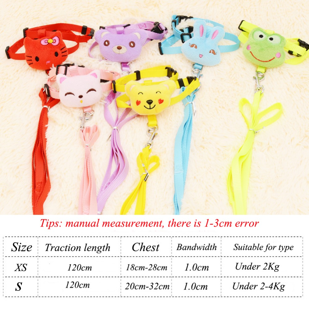 Outdoor Cute Cartoon Animals Pet Dog Leashes With Collars Set Puppy Leads for Small Dogs Cats Design Adjustable Dog Harness(China (Mainland))