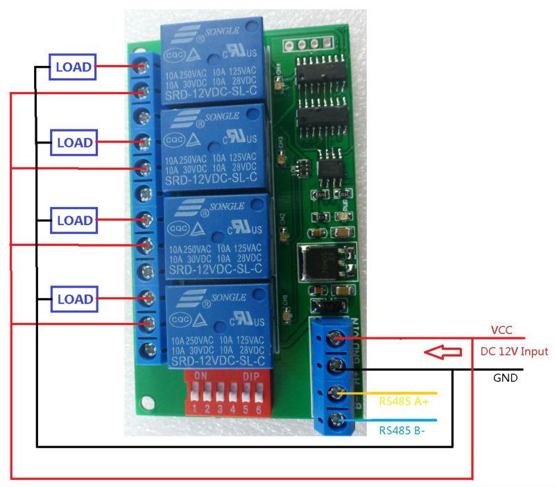 4 Channel Dc 12v Rs485 Relay Module Modbus Rtu  U0026 At