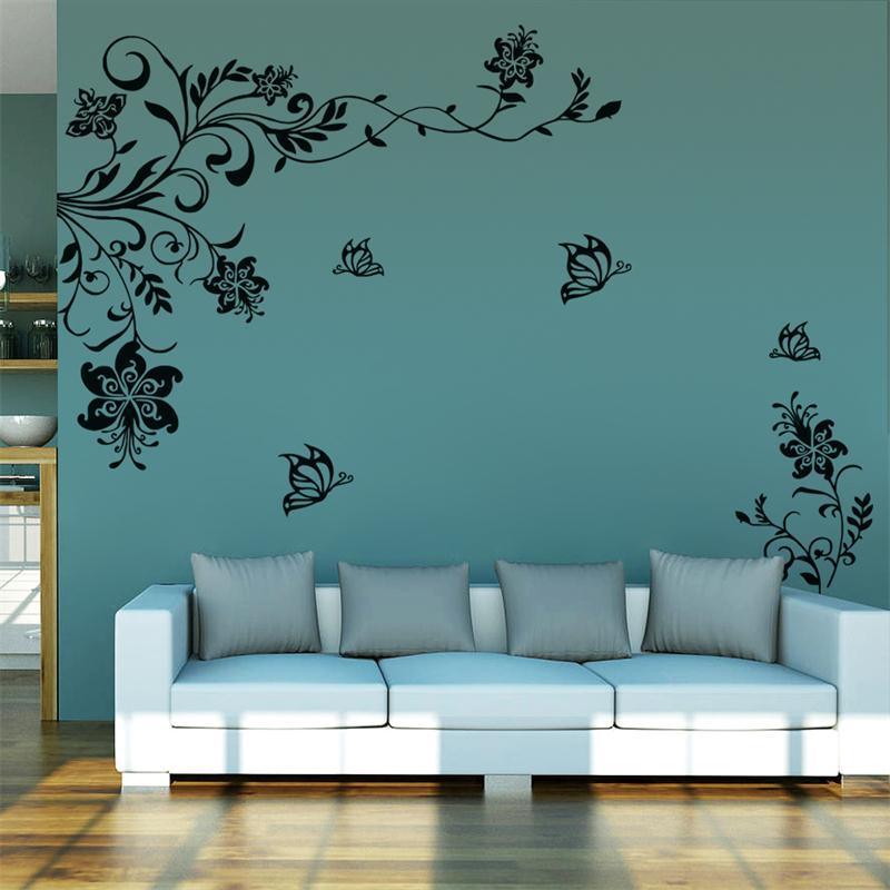 8402 classic flowers vine tv background wall stickers home for Art wall decoration