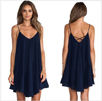 Free shipping 2015 New women in Europe and America Cross Strap Chiffon Mini Dress Listed Summer Dresses Style hot sale R022(China (Mainland))