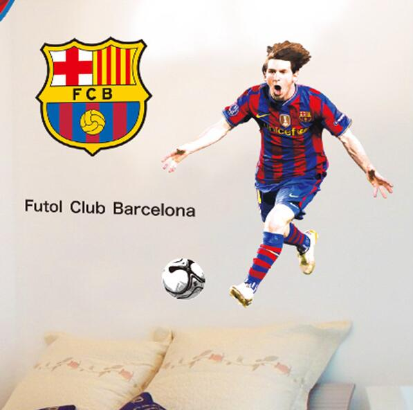 New Creative DIY Sports footballer wall stickers kids boys the year Lionel Messi after scoring of cheering room wall decor(China (Mainland))