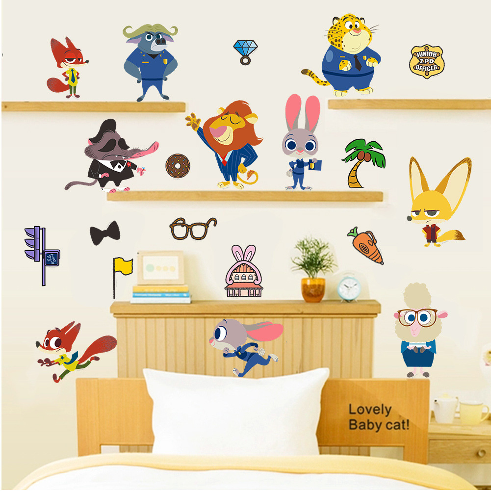 Crazy Animal City Wall Poster Children Bedroom Background Cartoon Wall