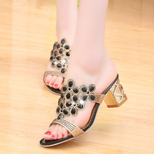 2016 New Fashion Rhinestone Cut-out Women Sandals Square Heel Slip-on Slippers Summer Shoes Woman High Heel Sandals Size 35-42