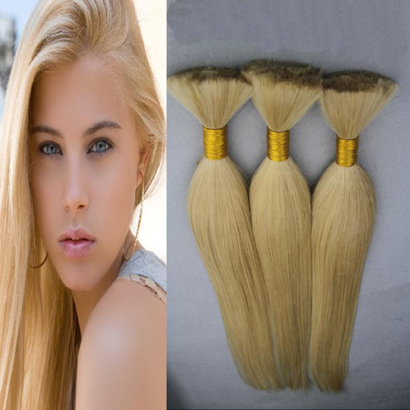 Blonde Hair Human For Braiding Bulk No Attachment Human Braiding Hair Bulk 100g Virgin Brazilian Hair Bulk Braiding Straight