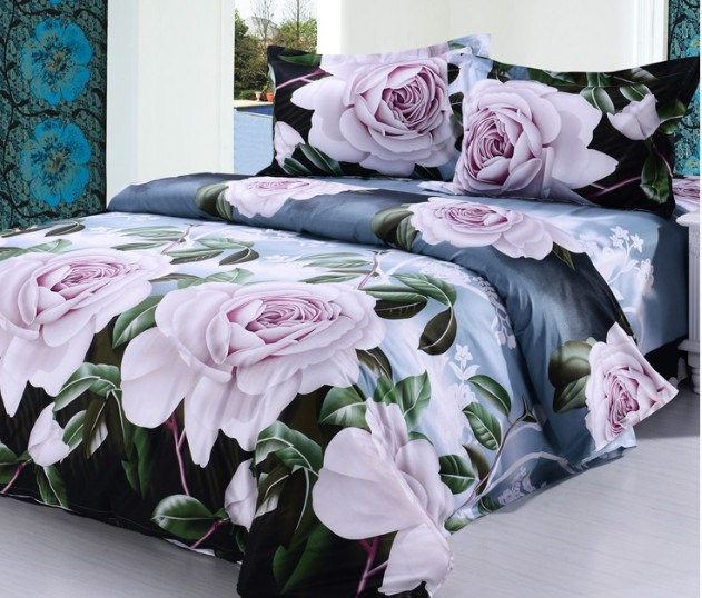 2015 new cotton french princess bedding sets,reactive printing thick duvet cover,flower art bed sheets,beautiful pattern fashion(China (Mainland))