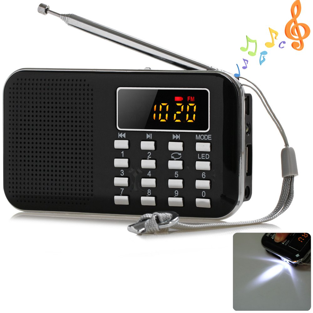 Mini Multifunctional Radio Constructor Digital LCD MP3 Speaker Music Player Support TF Card USB with LED Flashlight(China (Mainland))