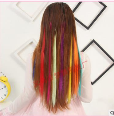 New arrival femalehot sale straight clip in colorful 5pieces hair extension permed suitable dying color cheap price freeshipping(China (Mainland))