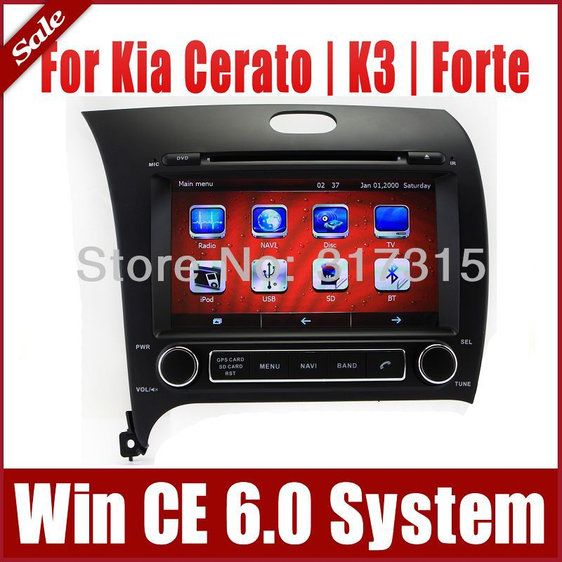In Dash Car DVD Player GPS Navigation for Kia Cerato K3 Forte 2013 with Navigator Radio TV SD USB AUX RDS Map Sat Nav Multimedia(China (Mainland))