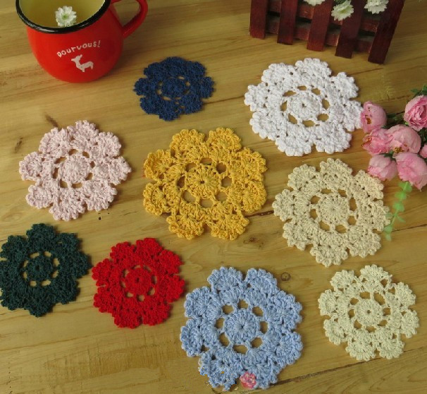 "Free shipping COLORFUL cotton hand made Crochet Doily/ cup mat, ,cup pad,coaster 10CM/4"" crochet flower 20 PCS/LOT CD066(China (Mainland))"