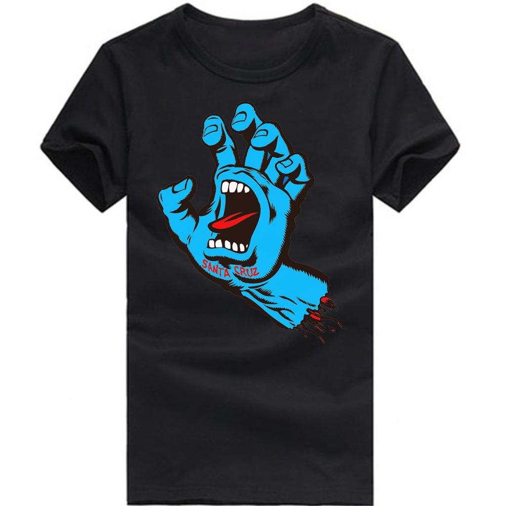 Euro Size New Novelty Santa Cruz T Shirt MenSkateboard Ghost Hand Man Shirt Cotton Punk Mens Clothing Free Shipping(China (Mainland))