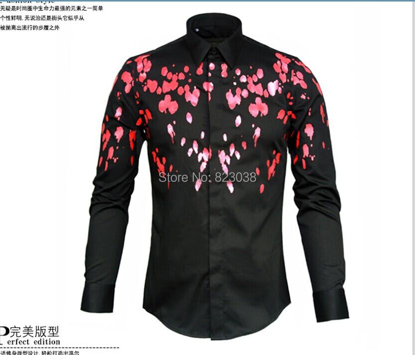 2014 good quality mens designer brand black white print for Mens white floral shirt