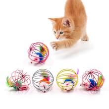 Chat interactif jouet bâton plume baguette avec petite cloche souris Cage jouets en plastique artificiel coloré chat Teaser jouet fournitures pour animaux de compagnie(China)