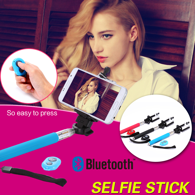 Extendable Self Selfie Stick Handheld Monopod +Clip Holder+Bluetooth Camera Shutter Remote Controller For iPhone Samsung Gopro(China (Mainland))