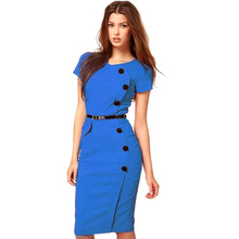 Mulheres Plus Size moda decote em V manga curta amarelo Outfit com botão cintura império de Slim lápis Bodycon Vestido Azul Vestido Azul