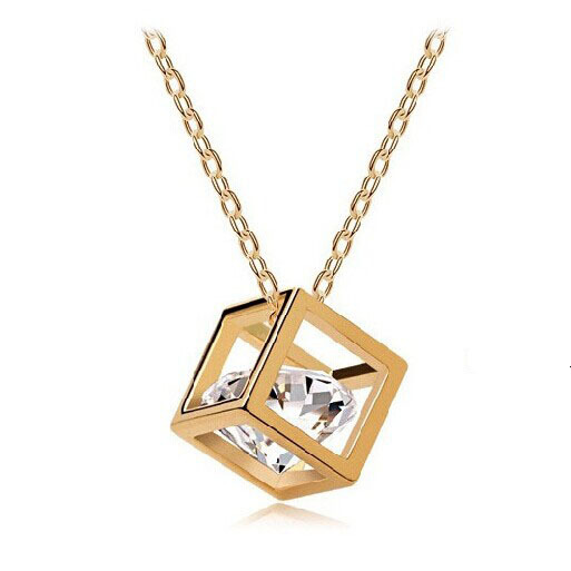 New Style magic cube small Pendant Necklace square crystal Pendants female for girlfriend lovers gifts(China (Mainland))