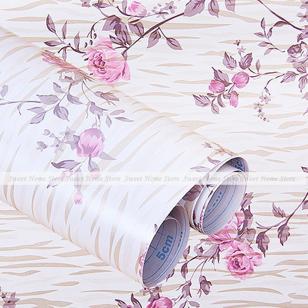 Vintage Flower Peony Self Adhesive Contact Paper Peel & Stick Shelf Drawer Liner Wallpaper 200x45cm(China (Mainland))