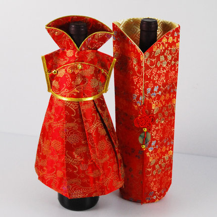 Red Chinese Style Wine Bottle Sleeve Cup Sleeve Full Dress Cheongsam Bride Groom Wedding Decoration Valentine's Day Gif(China (Mainland))