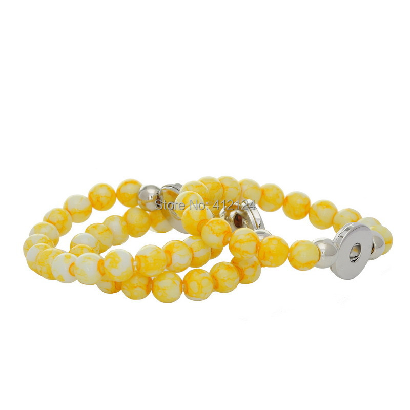 25 DIY Wholesale Bracelets Buckle Stretch Yellow Fit Snap Press Button Acrylic Beads Jewelry Making Component 21cm<br><br>Aliexpress
