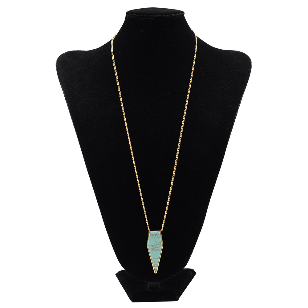 Collier Femme Colar Collares Faux White &Blue Teardrop-Shaped Turquoise Pendant Arrow Necklace Arrowhead Women Necklace #NK5011(China (Mainland))