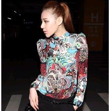New arrivel,Chiffon blouses for women 2014, Fashion street style shirt, Long-sleeve flower shirt,Pringting blouse
