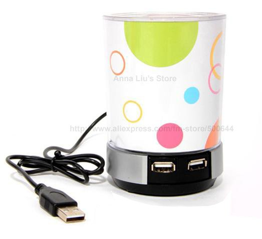 4 Port USB HUB LED Pen Holder with Speaker & 10PCS/Lot EMS/DHL Free Shipping(China (Mainland))