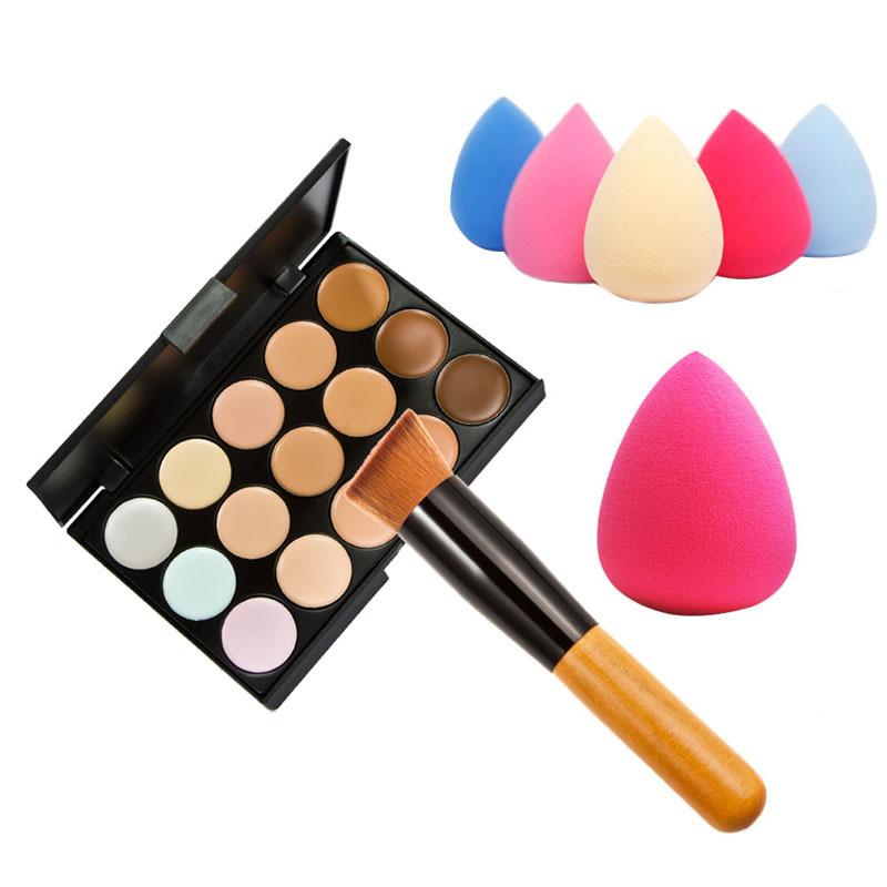15 Color Concealer Palette + Wooden Handle Brush + Teardrop-shaped Puff Makeup Base Foundation Concealers Face Powder(China (Mainland))