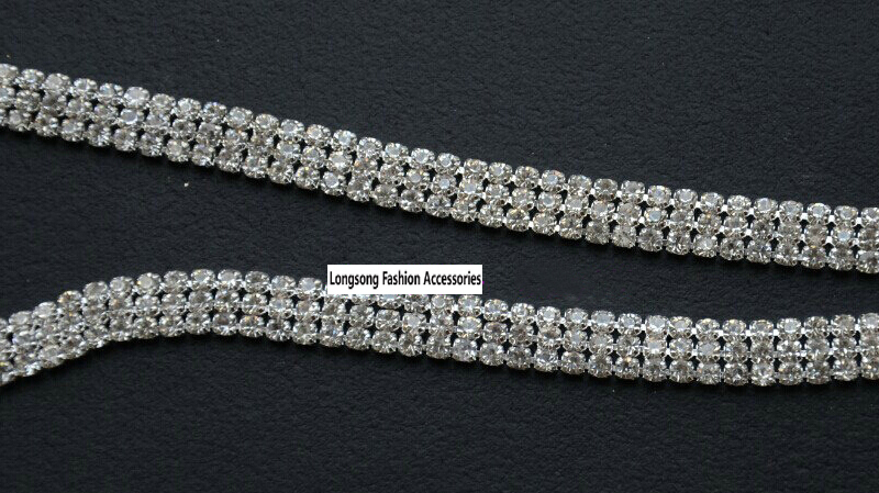 10 yards 3 rows SS12 Crystal Rhinestone Chain, Applique,Wedding Applique,Rhinestone Trim LSRT12183 - LongsongFashion Store store