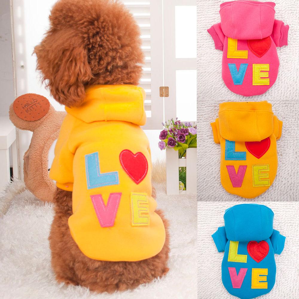 Amor Cat Dog Pet impresso casaco com capuz quente camisa S / M / L / XL